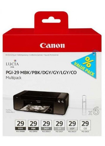 Canon originál ink PGI-29 MBK/PBK/DGY/GY/LGY/CO Multi pack, black/color, 4868B018, Canon Pixma Pro 1