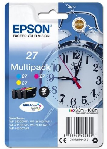 Epson originál ink 13T27054012, 27, color, 3x3,6ml, Epson WF-3620, 3640, 7110, 7610, 7620