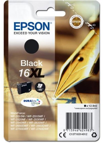 Epson originál ink C13T16314012, T163140, 16XL, black, 12.9ml, Epson WorkForce WF-2540WF, WF-2530WF, WF-2520NF, WF-2010