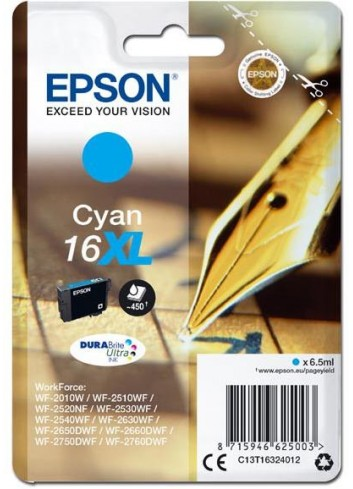 Epson originál ink C13T16324012, T163240, 16XL, cyan, 6.5ml, Epson WorkForce WF-2540WF, WF-2530WF, WF-2520NF, WF-2010