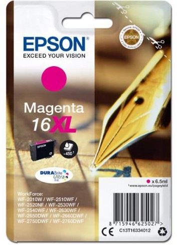 Epson originál ink C13T16334012, T163340, 16XL, magenta, 6.5ml, Epson WorkForce WF-2540WF, WF-2530WF, WF-2520NF, WF-2010