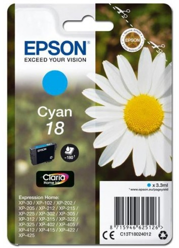 Epson originál ink C13T18024012, T180240, cyan, 3,3ml, Epson Expression Home XP-102, XP-402, XP-405, XP-302