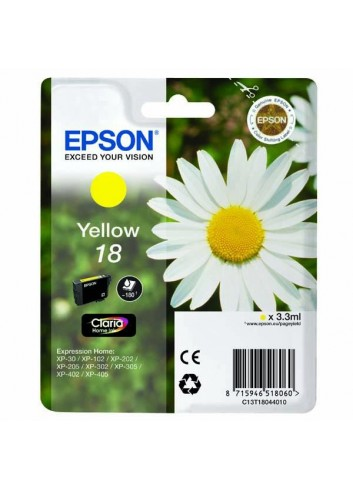 Epson originál ink C13T18044020, T180440, yellow, 3,3ml, Epson Expression Home XP-102, XP-402, XP-405, XP-302
