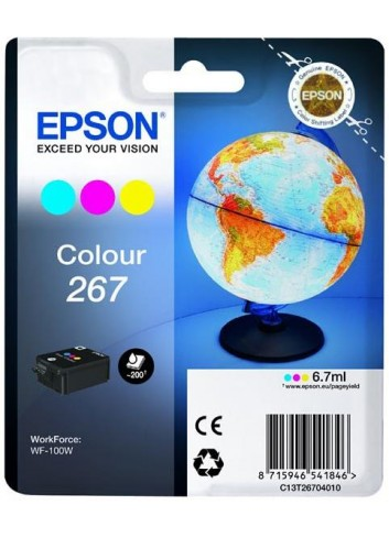 Epson originál ink C13T26704010, 267, color, 6,7ml, Epson WF-100W