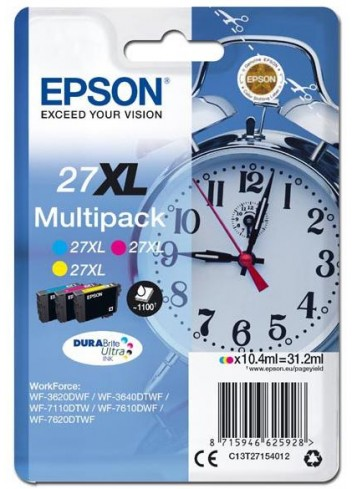 Epson originál ink C13T27154012, 27XL, color, 3x10,4ml, Epson WF-3620, 3640, 7110, 7610, 7620