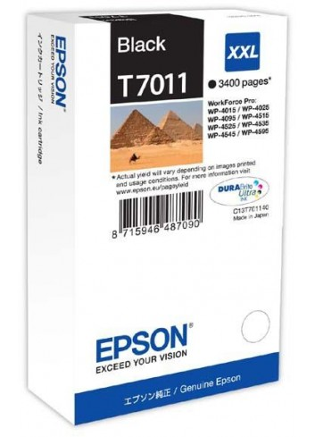 Epson originál ink C13T70114010, XXL, black, 3400str., Epson WorkForce Pro WP4000, 4500 series