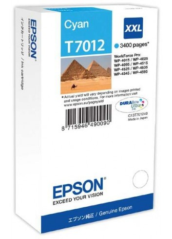 Epson originál ink C13T70124010, XXL, cyan, 3400str., Epson WorkForce Pro WP4000, 4500 series