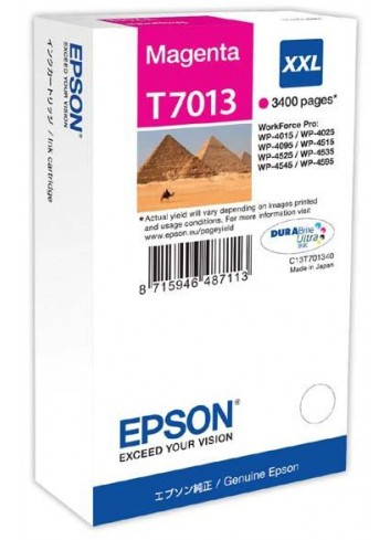 Epson originál ink C13T70134010, XXL, magenta, 3400str., Epson WorkForce Pro WP4000, 4500 series