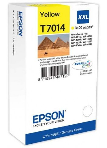 Epson originál ink C13T70144010, XXL, yellow, 3400str., Epson WorkForce Pro WP4000, 4500 series
