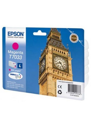 Epson originál ink C13T70334010, L, magenta, 800str., Epson WorkForce Pro WP4000, 4500 series