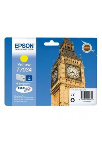 Epson originál ink C13T70344010, L, yellow, 800str., Epson WorkForce Pro WP4000, 4500 series