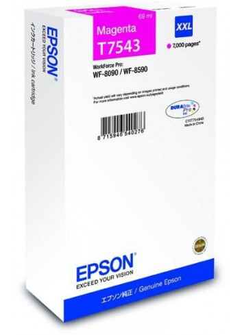 Epson originál ink C13T754340, T7543, XXL, magenta, 69ml, Epson WorkForce Pro WF-8090DW, WF-8590DWF