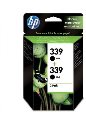 HP originál ink C9504EE, HP 339, black, 1600 (2x800)str., 2x21ml, HP 2-Pack, C8767EE, Photosmart 8150, OJ-7410, DJ-5740