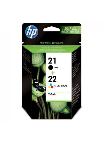HP originál ink SD367AE, HP 21 + HP 22, black/color, 190/165str., 2ks, HP 2-Pack, C9351AE + C9352AE