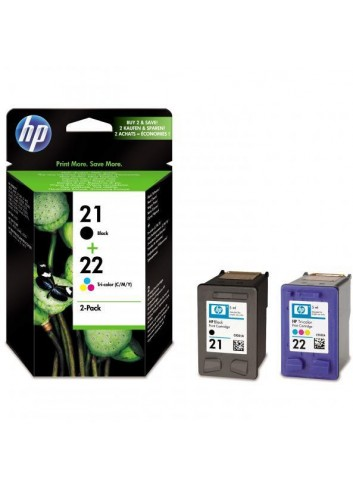 HP originál ink SD367AE, HP 21 + HP 22, black/color, blister, 190/165str., 2ks, HP 2-Pack, C9351AE + C9352AE
