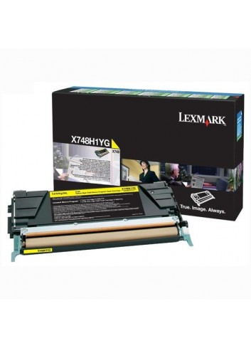 Lexmark originál toner X748H1YG, yellow, 10000str., return, high capacity, Lexmark X748DE, X748DTE
