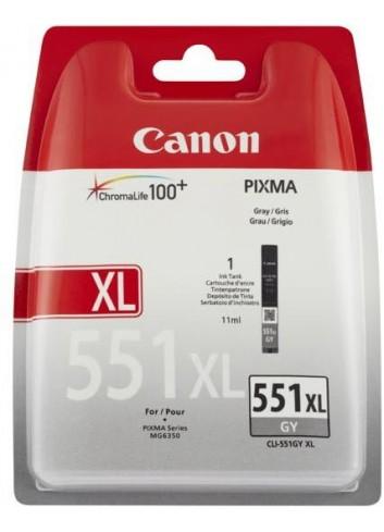 Canon originál ink CLI551GY XL, grey, blister, 11ml, 6447B004, high capacity, Canon PIXMA iP7250, MG5450, MG6350, MG7550