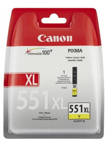 Canon originál ink CLI551Y XL, yellow, blister, 11ml, 6446B004, high capacity, Canon PIXMA iP7250, MG5450, MG6350